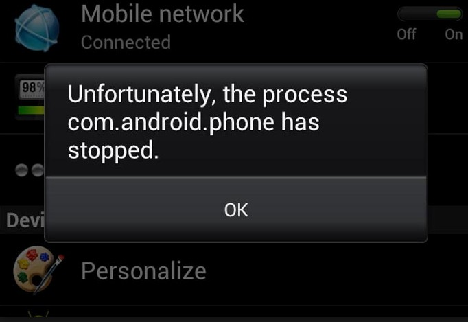 the process comandroidphone has stopped