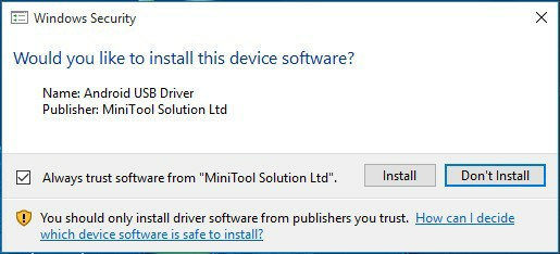 install the Android USB Driver