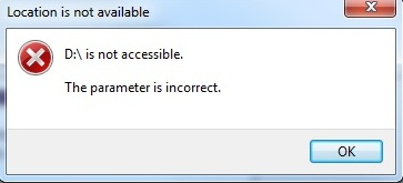 D is not accessible Parameter is incorrect