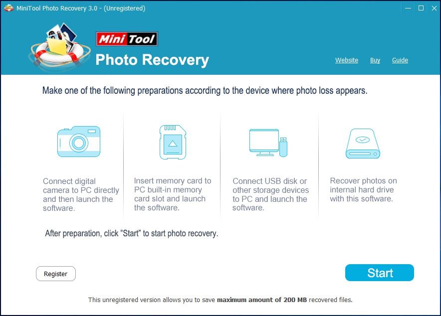 main interface of minitool photo recovery