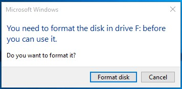 you neeed to format the disk before you can use