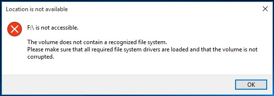 this volume does not contain a recognized file system