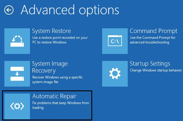 click Automatic Repair or Startup Repair