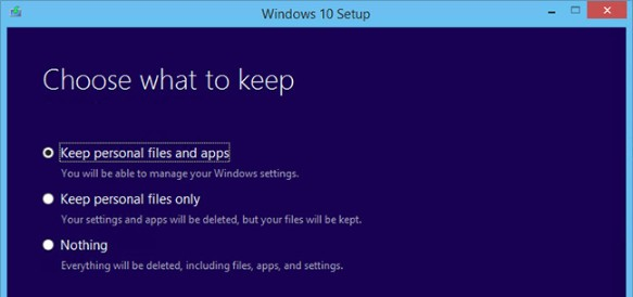 upgrade windows to Windows 10 whether to keep personal files