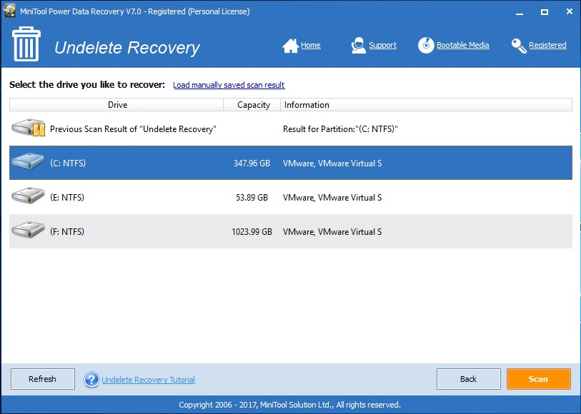 lost desktop files recover usign data recovery software select c drive