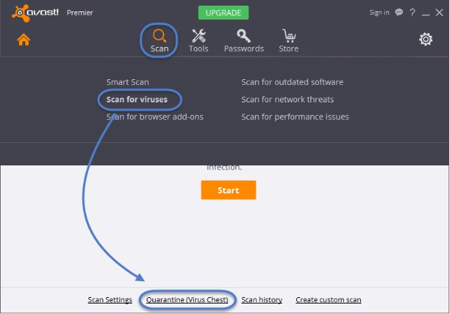 recover antirus deleted files from avast