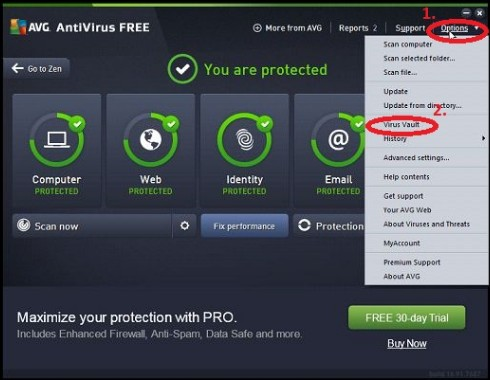 recover antirus deleted files from avg