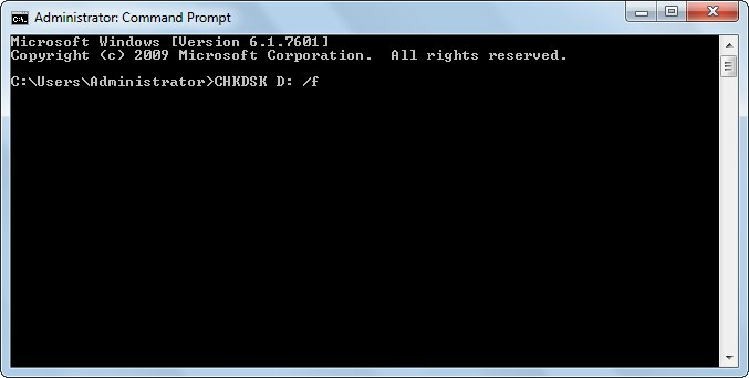 run chkdsk in command prompt