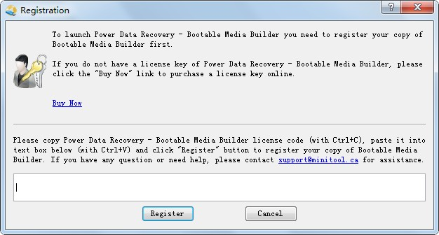 registry box of power data recovery bootable media builder