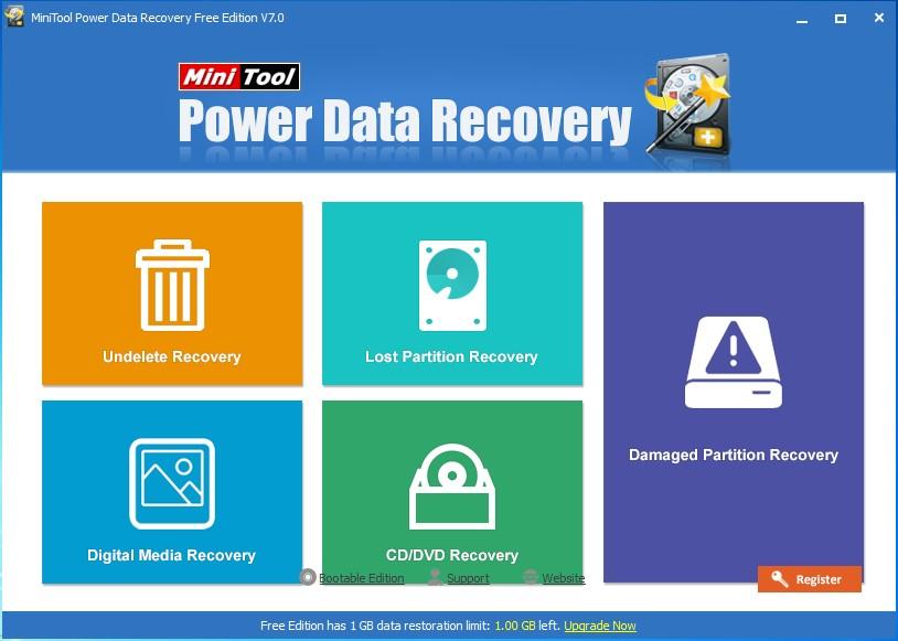 minitool power data recovery main interface