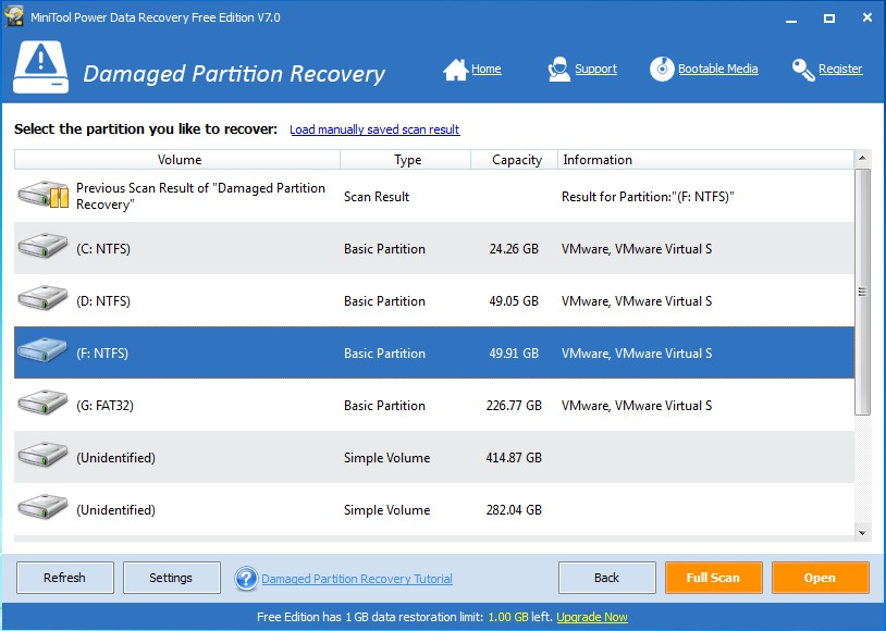 recover data from inaccessible partition select inaccessible partition to scan