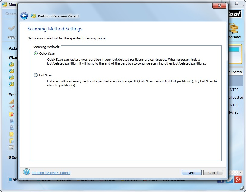 recover partition with partition wizard set scanning method