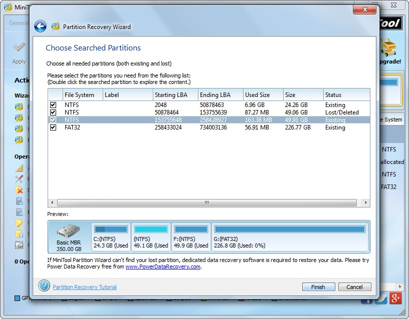 recover partition with partition wizard check all needed partitions