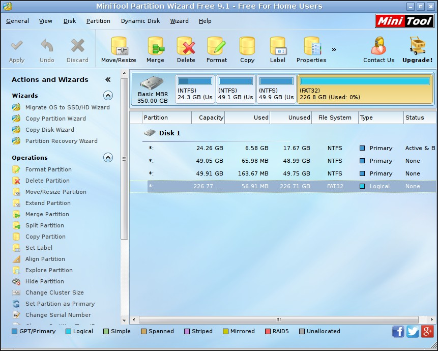 minitool partition wizard bootable edition main window
