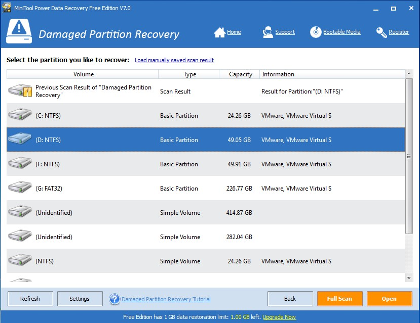 recover data with power data recovery select target device