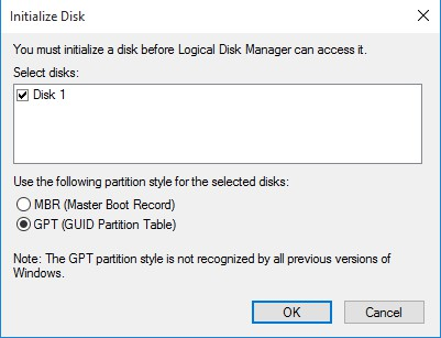 initalize disk (MBR vs GPT)