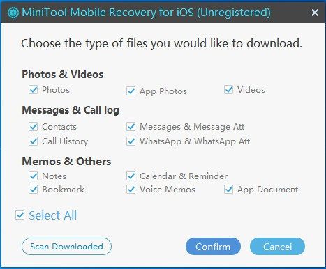choose types of file you want to recover
