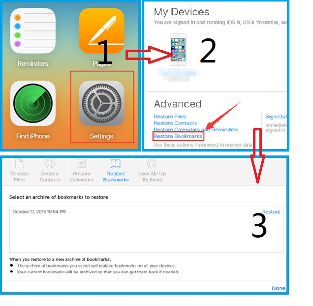how to download html bookmarks from icloud