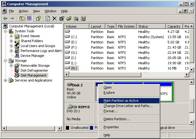 Hard disk active partition 1
