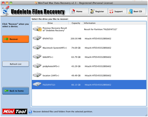 after scan the mac file recovery software will display all deleted files originally stored