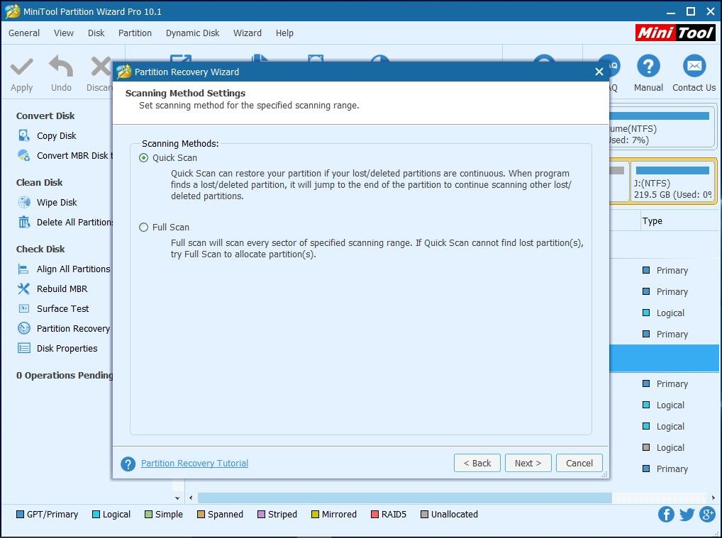 recover partition with minitool partition wizard set scanning method