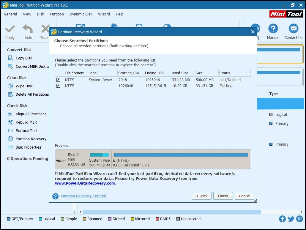 recover system reserved partition check all needed partitions