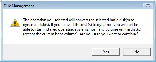 the selected operation will convert disk to dynamic