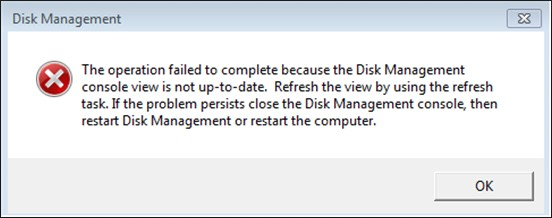 disk managemnet console view is not up to date