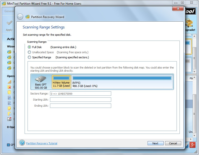 recover partition with minitool partition wizard set scanning range