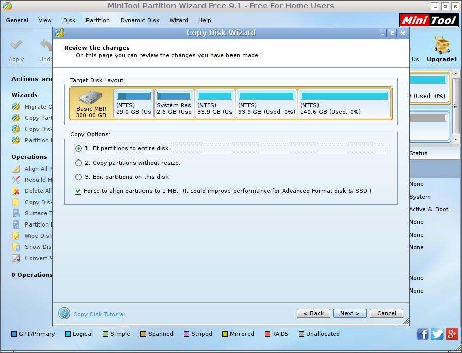 copy disk with partition wizard bootable CD choose copy method