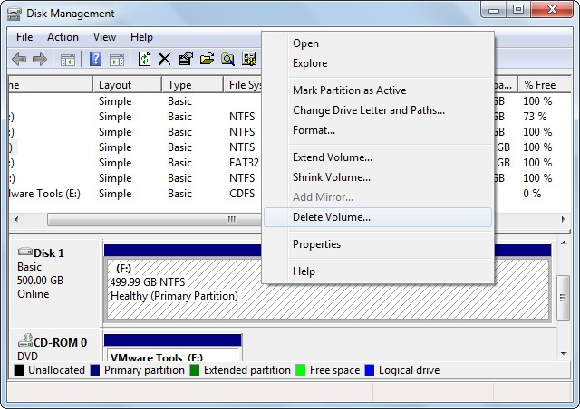 create exFAT partition delete NTFS partition in Disk Management