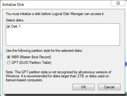 initialize hard disk to MBR or GPT in Disk Management