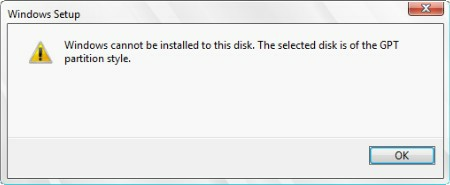 Windows cannot be installed to GPT disk in Legacy boot mode