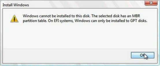 Windows cannot be installed to MBR disk on EFI systems