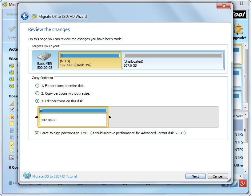 migrate Windows to SSD choose copy method