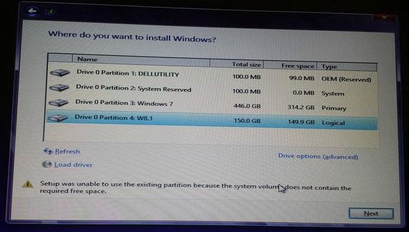 setup was unable to use existing partition