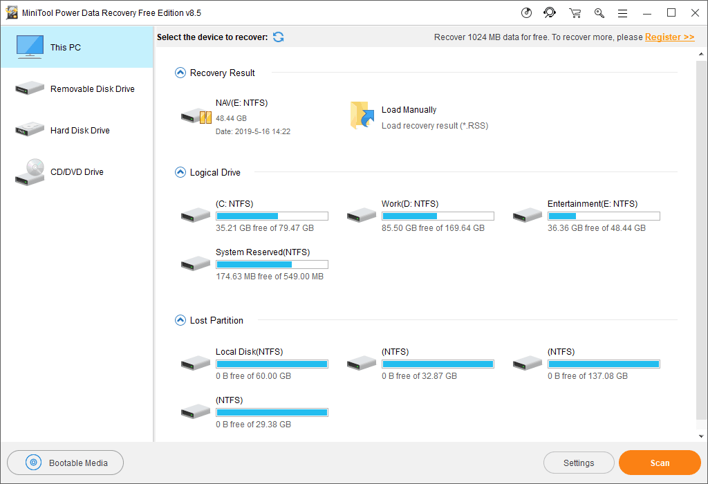 MiniTool Power Data Recovery Free 8.1.0