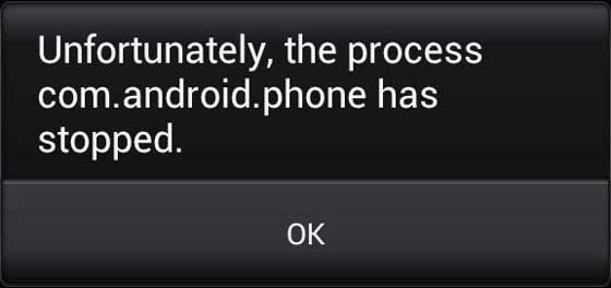 the process com android phone stopped