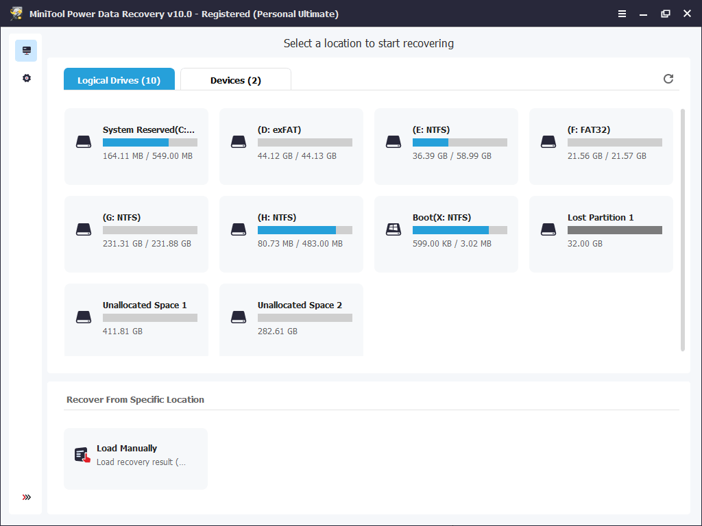 the main interface of MiniTool Power Data Recovery