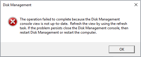 Disk Management console view is not up-to-date