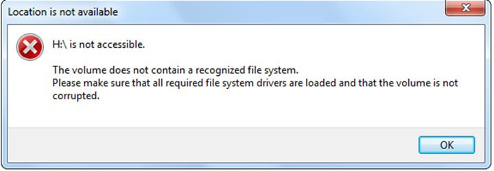 volume not contain  recognized file system
