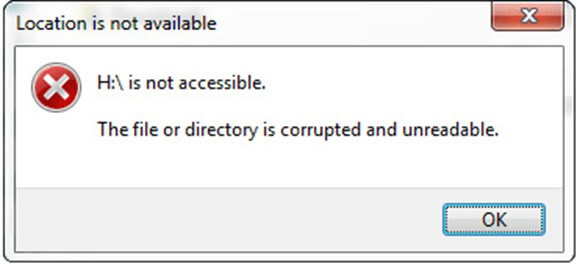 file directory  corrupted and unreadable
