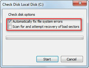 Check disk options