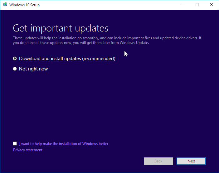 get important updates interface
