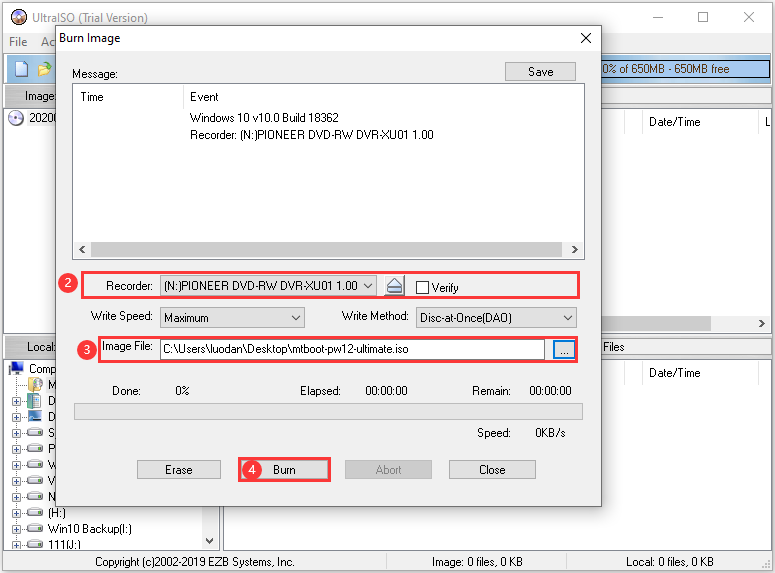 select the CD/DVD and the image file
