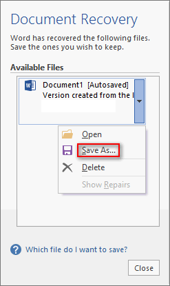 available files in Microsoft Office Word
