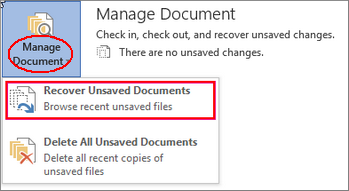 Recover Unsaved Documents
