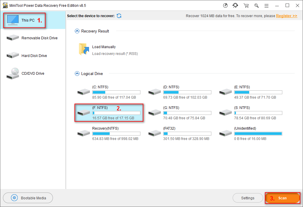 select the partition contains deleted files