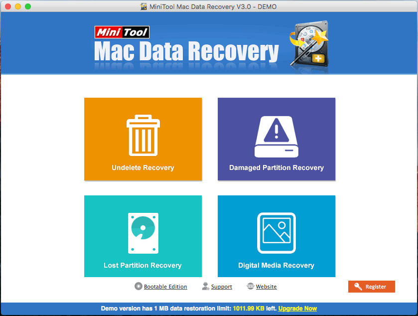 MiniTool Mac Data Recovery main interface