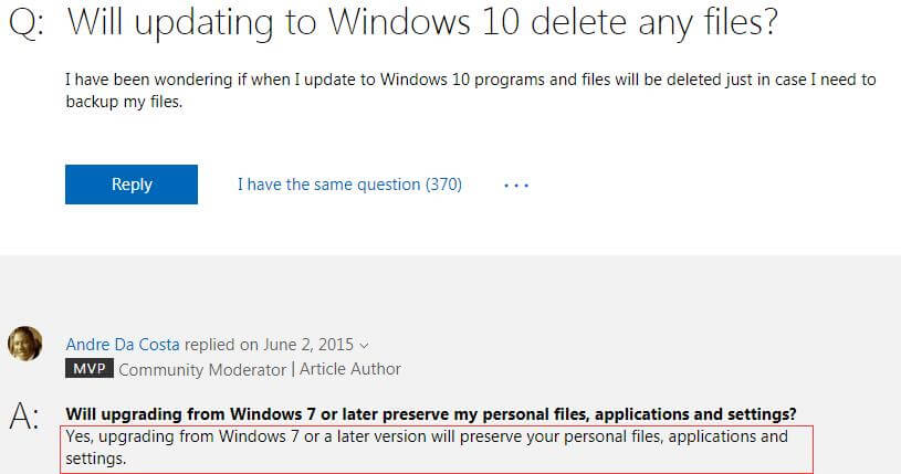 Will upgrading to Windows 10 delete my files